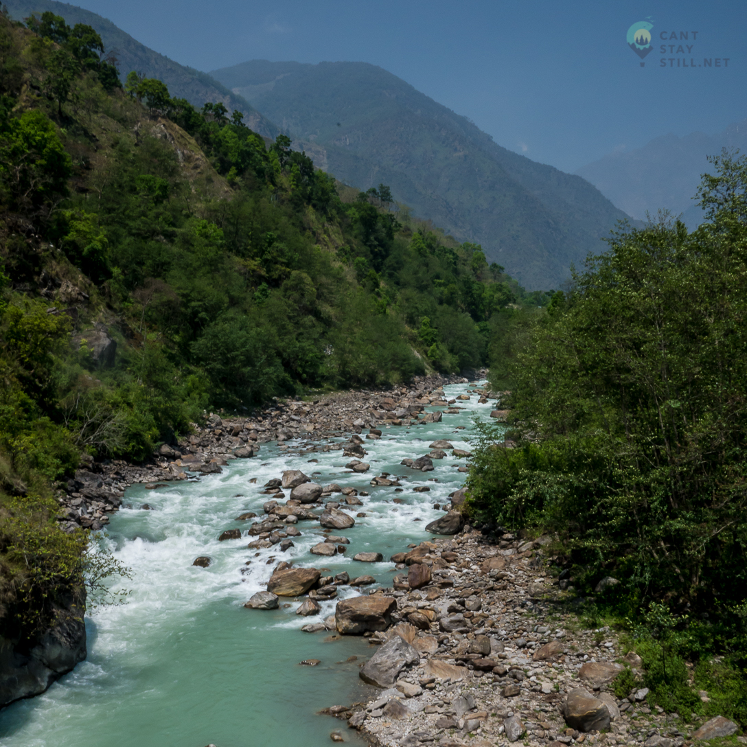 Annapurna Circuit follows the river for the first days of the trek