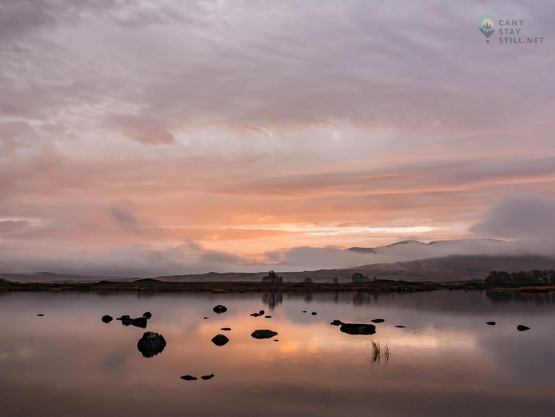 early sun rays between rain drops at Rannoch Moor