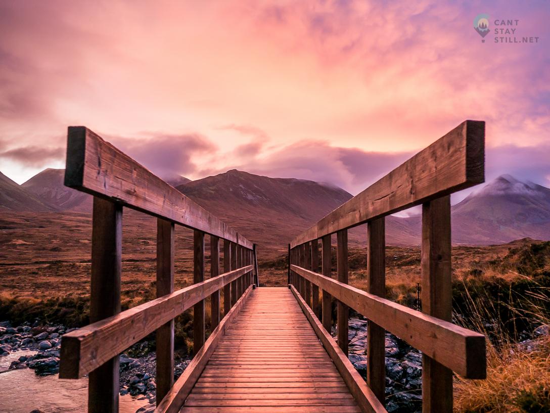 bridge in the pink sunrise light