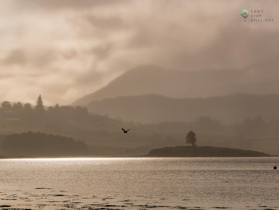 gloomy day in Portree, Scotland