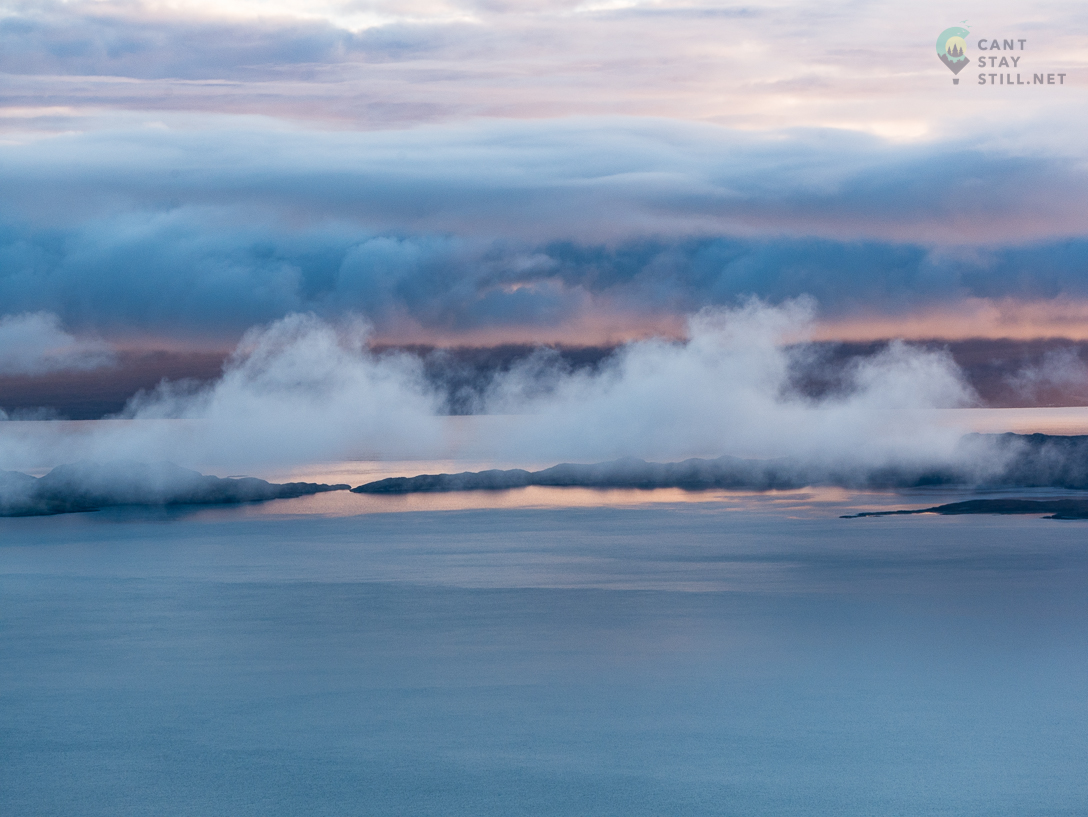 low clouds and mist in the horizon where ocean meets the earth