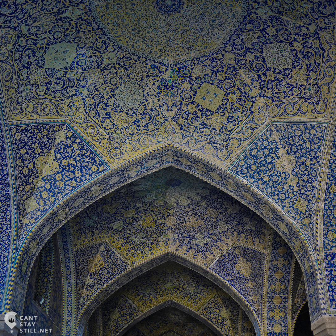the intricate mosaic on the arches of Shah Mosque, Esfahan, Iran