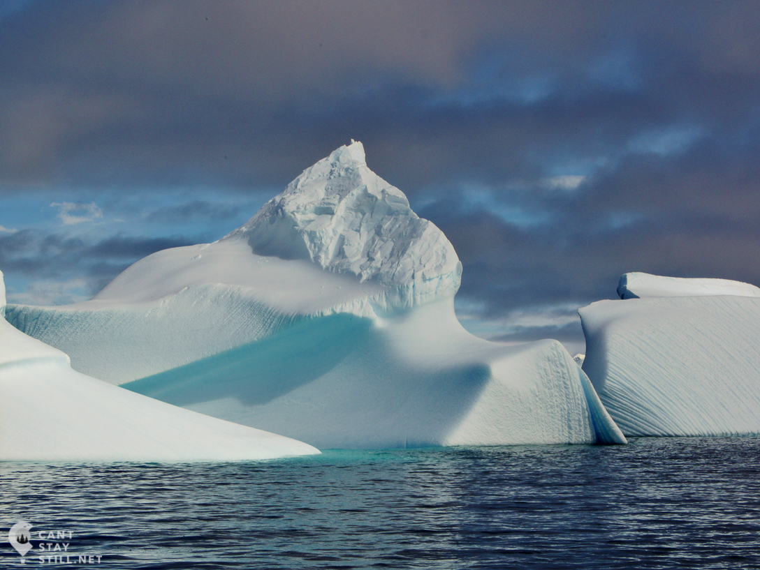 the shades of blue of Antarctica's icebergs, water and sky
