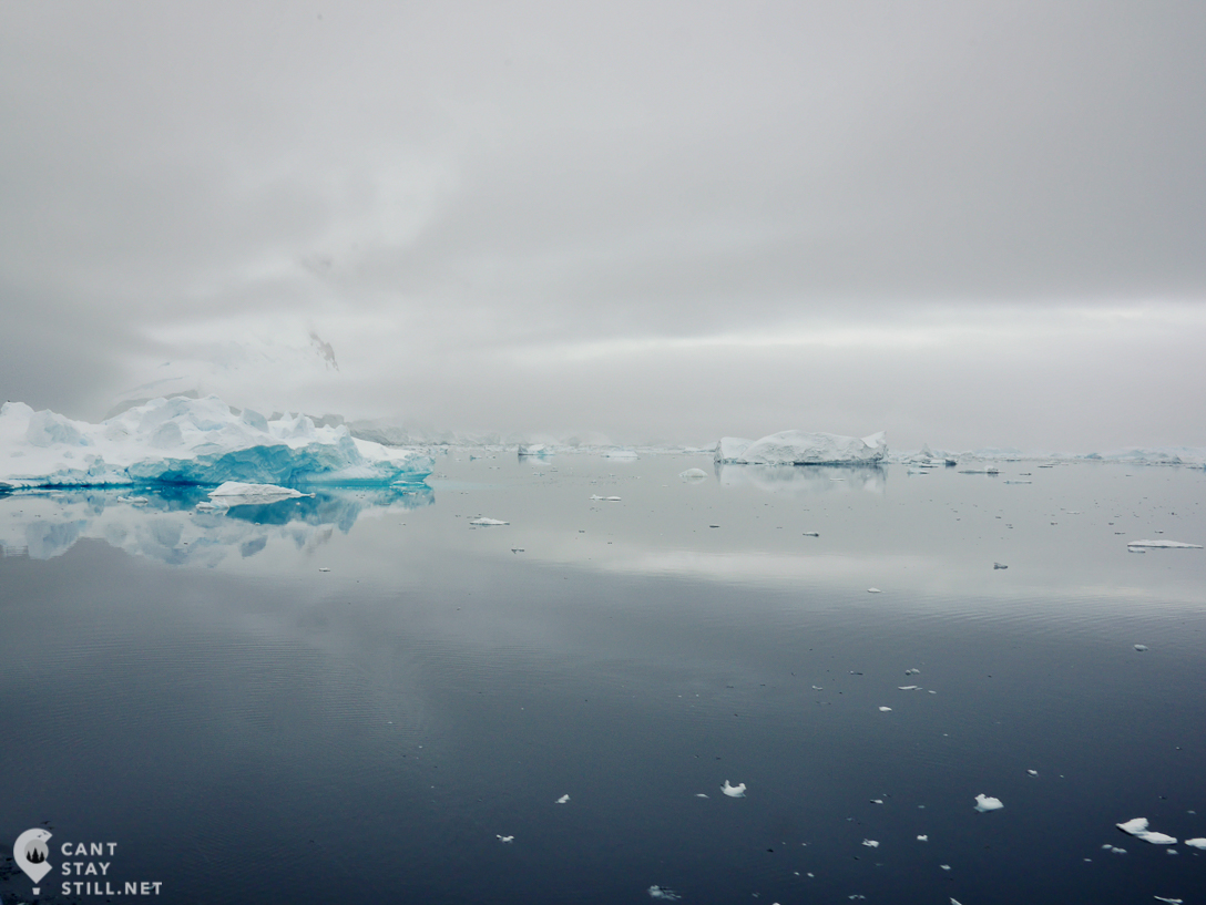 early gloomy morning on the Lemaire Channel, Antarctica