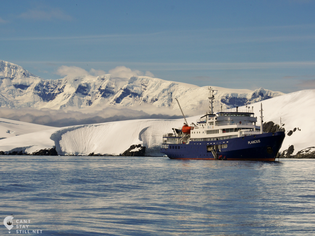 OceanWide's Expeditions Plancius on a sunny day in Antarctica