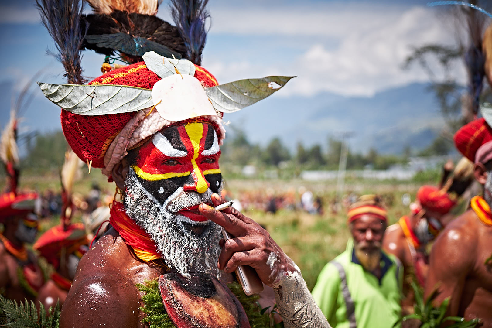 smoking in the downtime at the Mt. Hagen Show in Papua New Guinea PNG