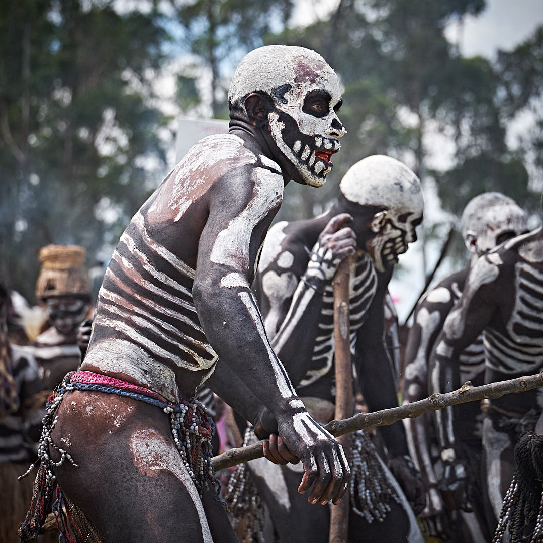 the Chimbu skeletons trying to scare people at the Mt. Hagen Show in Papua New Guinea PNG