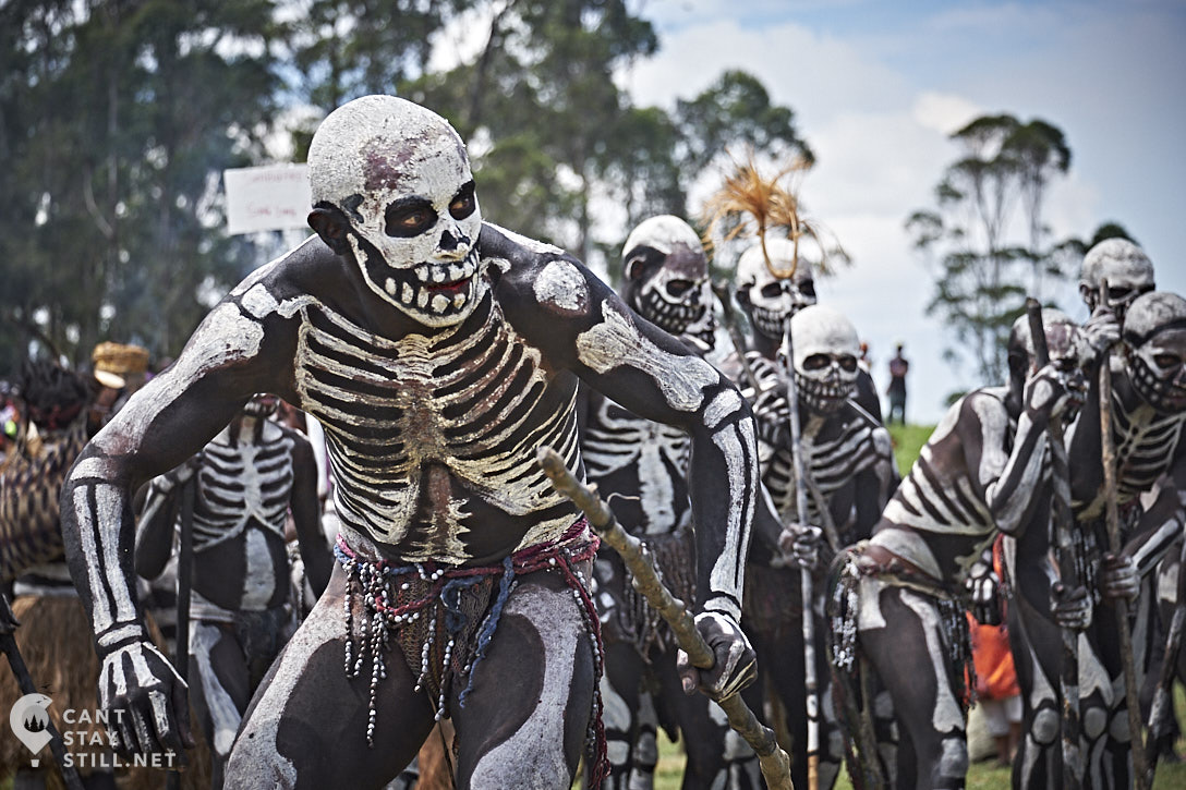 skeleton men at the Mt. Hagen Show in Papua New Guinea PNG