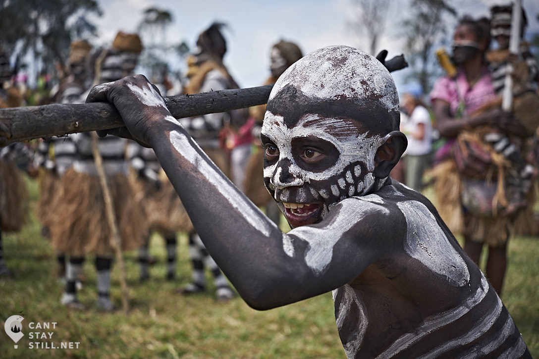 skeleton kid at the Mt. Hagen Show in Papua New Guinea PNG