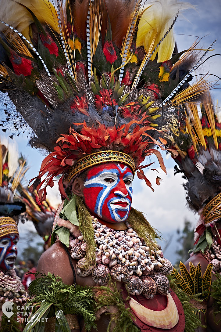 stunning headpiece (with whole birds) at the Mt. Hagen Show in Papua New Guinea PNG