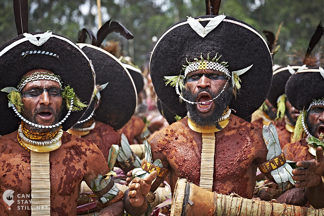human hair headpieces at the Mt. Hagen Show in Papua New Guinea PNG