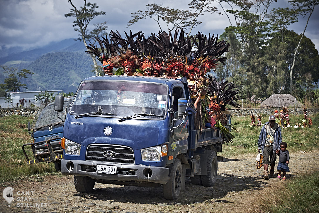 tribe arriving at the Mt. Hagen Show in Papua New Guinea PNG