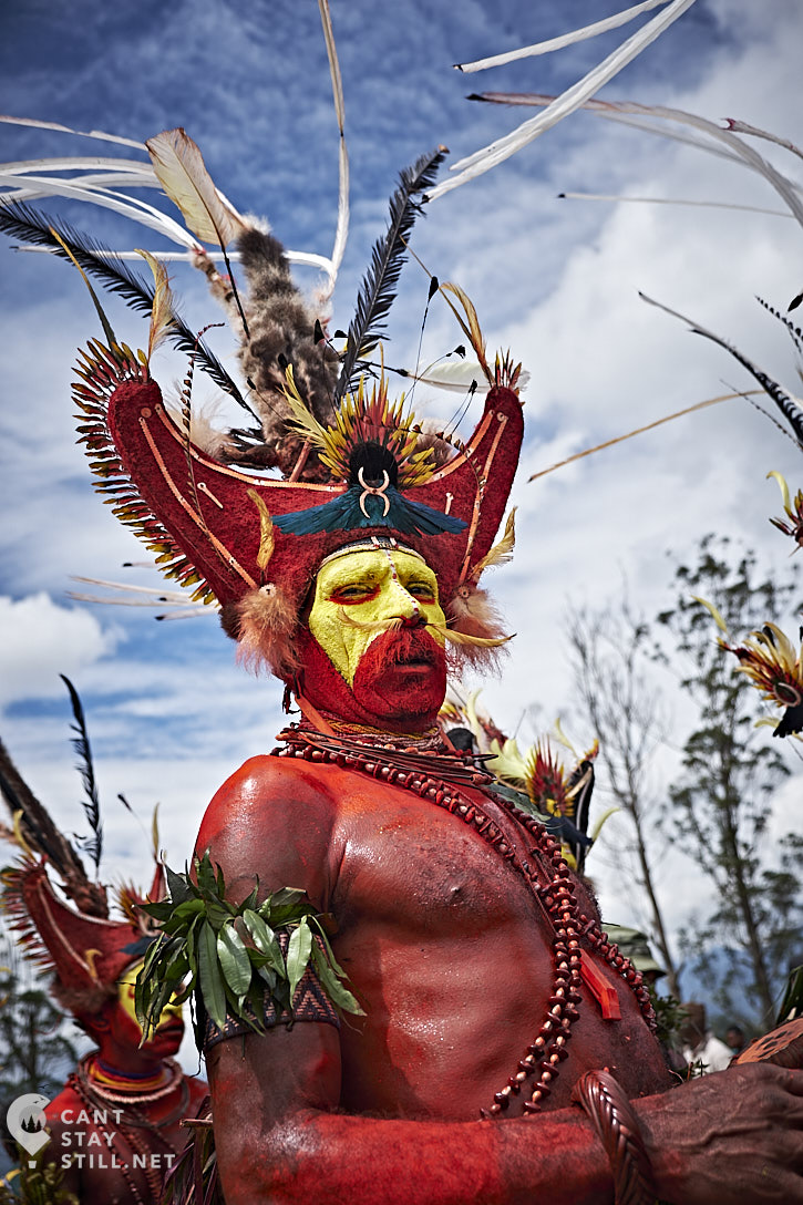 member of the Huli tribe from the Tari village, at the Mt. Hagen Show in Papua New Guinea PNG