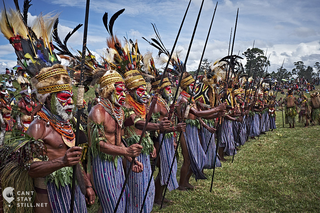 the sing-sing group in action at the Mt. Hagen Show in Papua New Guinea PNG