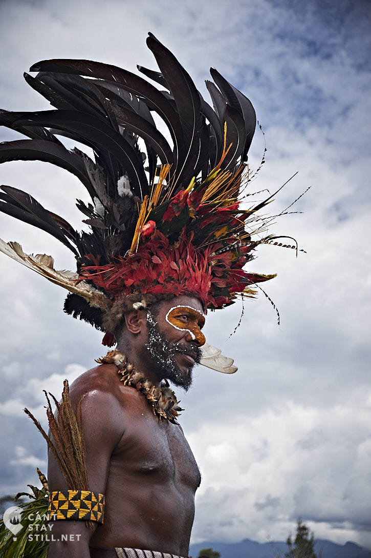 an impressive costume, with a massive headpiece made from over 30 birds of paradise and a necklace made of cuscus possum jaws at the Mt. Hagen Show in Papua New Guinea PNG