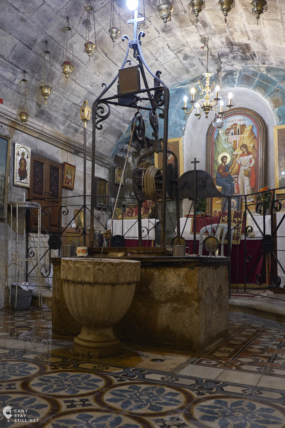 Jacobs Well Nablus Photina Church When Jesus was sitting by this well and a Samaritan woman came to draw water, Jesus revealed Himself to her as the Messiah. She then started spreading the word of her encounter, converting more people to Christianism